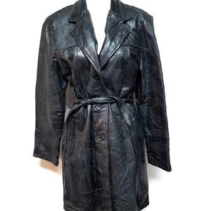 70s Patchwork Black Tie Waist Trenchcoat Le World